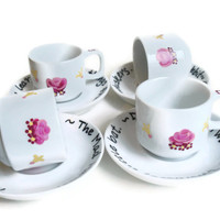 Mad Hatter's Party - Tea Cup Set -hand painted original-