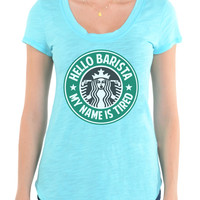 Hello Barista - My Name Is Tired - Slub Crew Neck Tee