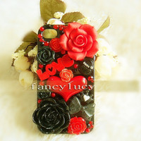iphone 4 case - iphone 4 cover - iphone 4s case - Punk iPhone 4 Case bling iPhone 4 case Cute iPhone 4 Case Flowers for Love