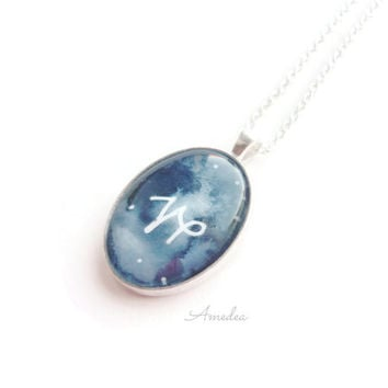 Capricorn pendant, zodiac jewelry, watercolour handpainted zodiac sign, with sterling silver plated chain