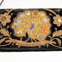 Black Velvet India Zardozi Clutch, Embroidered Gold Metal Thread Peacock, Evening Purse, Stone Agates 218