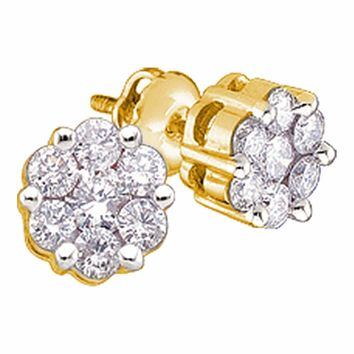 10kt Yellow Gold Women's Round Diamond Flower Cluster Earrings 1/4 Cttw