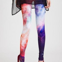 Multi Leggings/Tights - Red Galaxy Print Leggings | UsTrendy