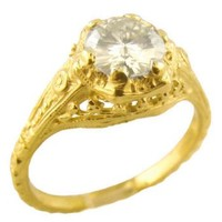 14k Yellow Gold Vintage Style Filigree .85ct Moissanite Engagement Ring