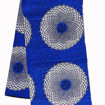 African fabric, Blue white water well African print fabric by the yard, African fabric by the Yard, Ankara fabric Ankara fabric by the yard