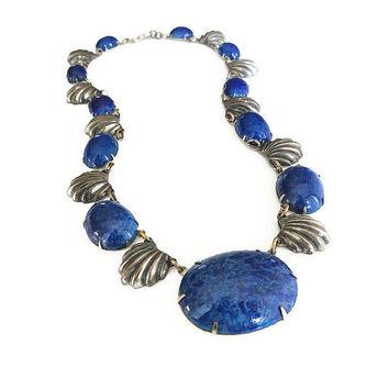 Art Deco Necklace, Lapis Glass, Silver Pot Metal, Scalloped Edge Shell, Embossed Design, Antique Jewelry