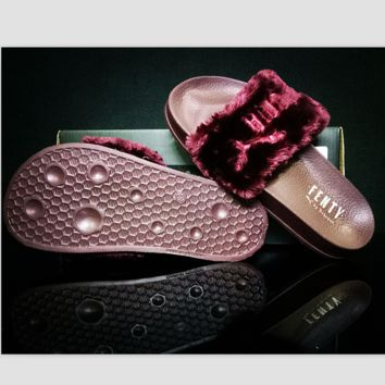 """PUMA"" Rihanna Fenty Leadcat Fur Slipper Shoes Wine red"
