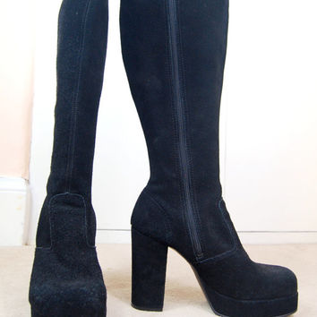 90s Does 70s Grunge Goth Boho Black Faux Suede Chunky Platform Knee High Witchy Stevie Nicks Platform Hippie Boots UK 5 / US 7.5 / EU 38