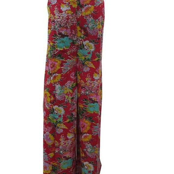 Hippie Palazzo Pant Red Floral Printed Cotton Trouser