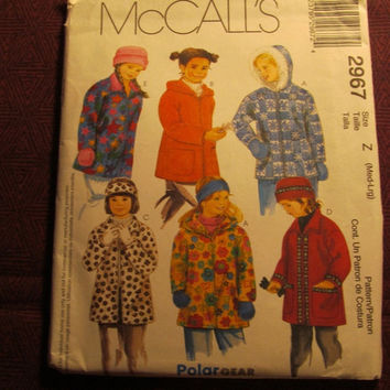 Sale Uncut McCall's sewing Pattern, 2967! Medium/Large/Kids/Child/Girls/Winter Coats/Hooded Jackets/Headbands/Mittens/Gloves/Winter Hats