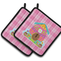 Easter Rabbit's House Pair of Pot Holders BB6899PTHD