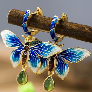 Hand crafted butterfly cloisonne earrings and Jade stone