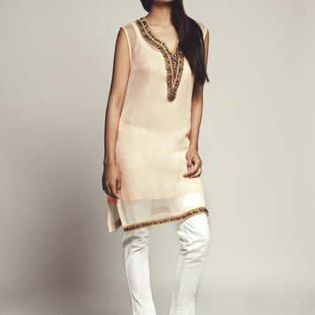 Tunic Dress with Gold Beads - Lavanya Coodly