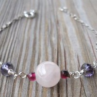 Rose Quartz,garnet,amethyst 925 Sterling Silver Bracelet Rose Quartz Bead 10mm Garnet Beads 3mm Amethyst Faceted Beads 6x4mm 925 Sterling Silver Rhodium Plated Chain 925 Sterling Silver Wire,seed Beads,spring,split Rings 19cm Long Handmade,brand New