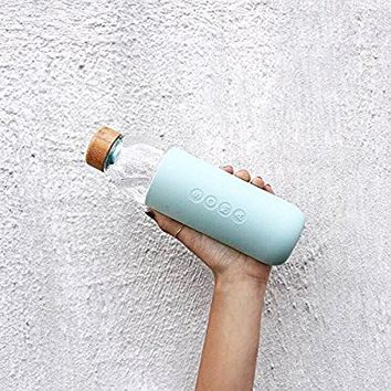 Soma 17 oz. BPA-free Wide Mouth Glass Water Bottle with Silicone Sleeve, Mint Green