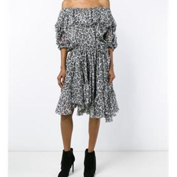 FAITH CONNEXION | Off-Shoulder Leopard Print Silk Dress | Womenswear | Browns Fashion