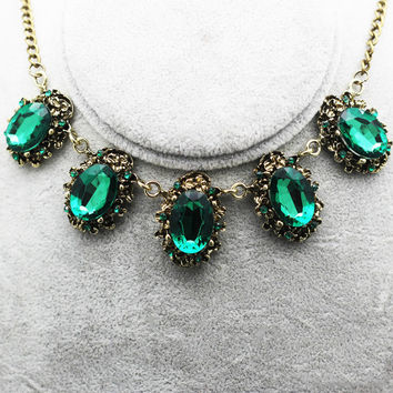 Gold Emerald Green Necklace