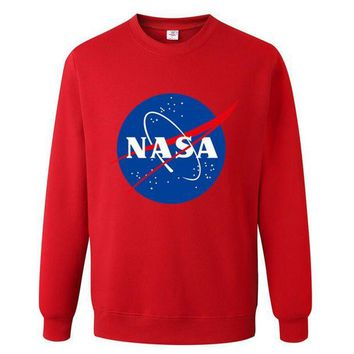NASA Letters Printed Long Sleeve T Shirt Sweatshirt Red