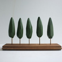 Small tabletop forest  miniature stand of cypress trees  by 2of2