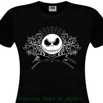 Women's Tee T-shirt Femme Mr Jack Tim Burton Nightmare Before Christmas Strange Tete De Mort Lady New Summer