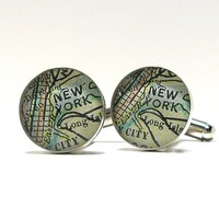 New York 1899 Antique Map Cufflinks — barrettadair's Collection