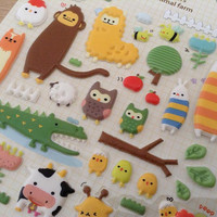 Cute farm animal Forest Garden 3D puffy sticker owl pink fox  deer squirrel purple raccoon cat flower leaf  scrapbook scrapbooking diary