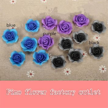 12pc/lot 22mm Flatback Polymer Clay Ceramic Flower Rose Beads For Crafts Diy Phone Case Material Elegant Jewelry Making Supplies