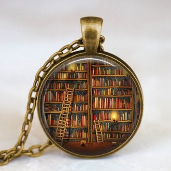 Library and Books Necklace