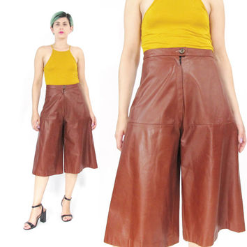 70s 80s Leather Culottes Chocolate Brown Leather Pants High Waist Wide Leg Pants Vintage Leather Capri Pants Minimal Cropped Trousers (XS/S)