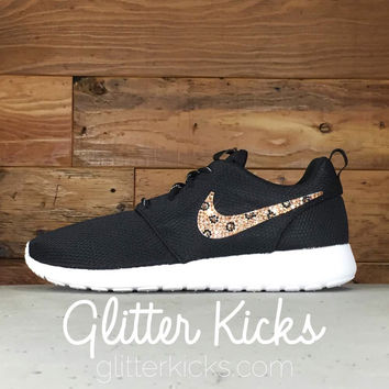 Nike Roshe One Customized by Glitter Kicks - BLACK/WHITE With Leopard Print Crystals