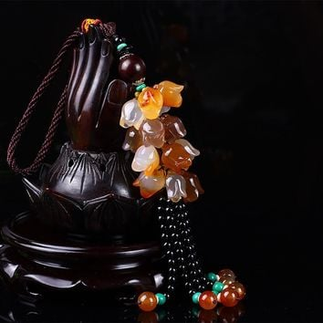 Agate Peony Flower Car Hanging Pendant Blooming And Wealthy Chinese Style  Automobile Interior Decor Ornaments Creative Gifts