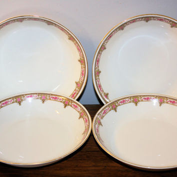 Set of Four Bowls, Rose Pattern Serving Bowls, Bavarian Porcelain Dish