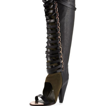 Alps Open-Toe Lace-Up Knee Boot, Black/Cargo