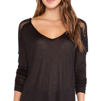 Free People The Gatsby Long Sleeve Tee in Black