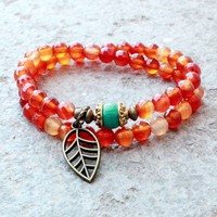 Stability and Communication, Multitone Carnelian and Turquoise 54 Bead Wrap Mala Bracelet with Turquoise Bead