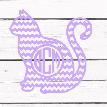 Solid Color Chevron Cat Monogrammed Vinyl Decal For Yeti Tumblers, Cars, and Tech Devices