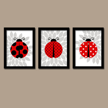Cute Ladybug Girl Custom Colors Red Black Grey Flower Burst Artwork Set of 3 Trio Prints WALL Decor ART Crib NURSERY Girl Baby