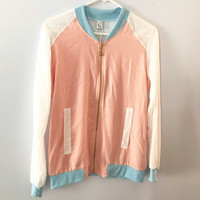 Pink and blue pastel sheer bomber jacket L