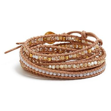 Women's Chan Luu Beaded Leather Wrap Bracelet - Natural Mix/ Beige