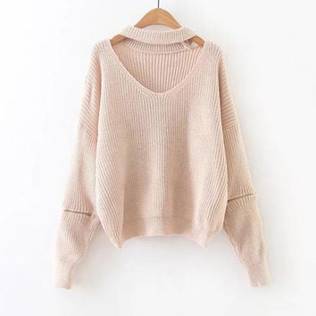 Pink Choker V Neck Zipper Sleeve Sweater