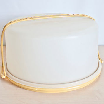 Vintage EXTRA Large Round Tupperware Cake Carrier, Harvest Gold with Handle