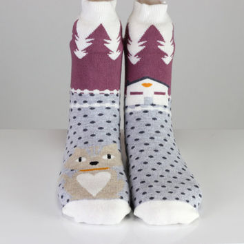 Kitty Socks Cat Socks Home Forest Polka Dots Farm Colorful Cute Socks Girls Socks Women Socks Funny Socks Ankle Socks Animal Socks Fun Socks