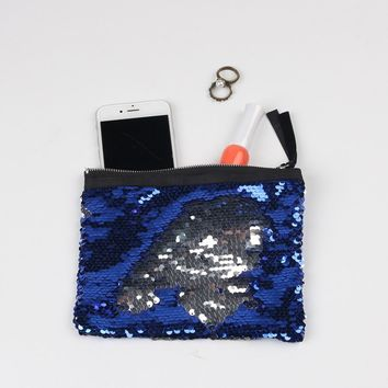 Mermaid Sequin Clutch Bag 19*15cm Women Reversible Sequins Glitter Handbag Evening Clutch Bag Purse Cosmetic bag