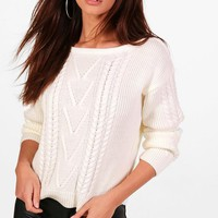 Petite Aggie Cable Knit Slash Neck Jumper | Boohoo