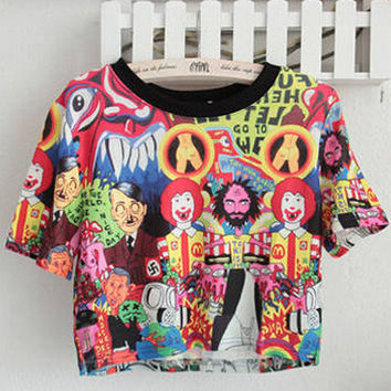 Ronald McDonald Print Short Sleeve Graphic Cropped T-shirt
