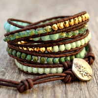 Green, gold, turquoise wrap bracelet. Beaded leather wrap bracelet.