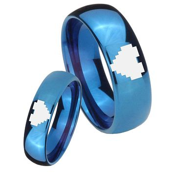 His Hers Mirror Blue Dome Zelda Heart Tungsten Carbide Wedding Rings Set