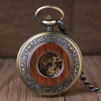 Vintage Steampunk Wooden Mechanical Pocket Watch With Chain Hand Wind Skeleton Bronze Necklace Clock Women Men Xmas Gift