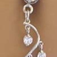 Crystal Clear Cz 4 Gem Unique Vine Dangle Belly button Navel Ring 14 gauge