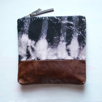 L E A T H E R Clutch Large MAKE UP Bag Hand by GiftShopBrooklyn